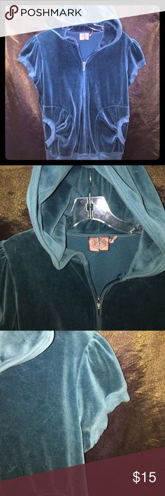 """Juicy Couture Vintage Velour Hoodie Sz XL ~EC~ THIS IS A PRELOVED ITEM IN EXCELLENT USED CONDITION FOR SALE. Juicy Couture Vintage Aqua Velour (Very Soft) Hoodie in a size XL. Cap sleeves xl hood metal silver """"J"""" for zipper tab. Cinched pockets. Double stitching. Tag has been cut in the middle. Measurements are: Length 23"""" Armpit to Armpit 19"""". Very soft and warm. Thank you for looking and don't forget to bundle Juicy Couture Jackets & Coats"""