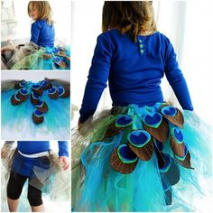 DIY Rinbow Peacock Tutu Skirt Tutorial