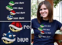 One Shell, Two Shell, Red Shell, Blue Shell - Funny Mario tshirt at TShirt Laundry