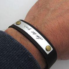 Handwriting Bracelet Mens Personalized Signature Bracelet