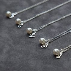 Bridesmaid Gift Jewelry Set of 8 Eight, Pearl Initial Jewelry, Personalized Bridal Party Monogram Letter, Pearl Bridesmaids Necklace on Etsy, $176.80