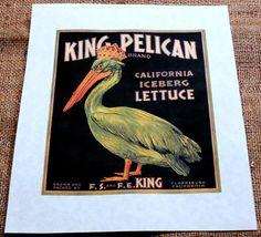 King Pelican Vintage Fruit Crate Label Art Print on Parchment Paper on Etsy, £3.93