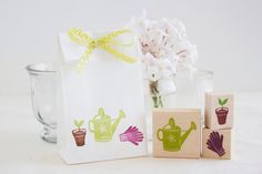 Garden Rubber Stamp Set - Watering Can Potted Plant Spout Gardening Gloves - Spring Wedding Home Farmers Market Scrapbook Fun