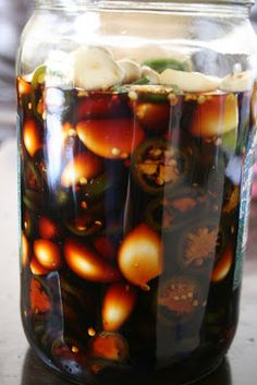 Week of Menus: Soy Pickled Garlic and Jalapenos - Food and Munchies - Korean Dishes, Korean Food, Pickled Garlic, Spicy Pickled Eggs, Salsa Dulce, Jalapeno Recipes, Pickling Jalapenos, Fermented Foods, Canning Recipes