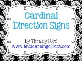 Cardinal Direction Signs - Black & White - FREE product from The-Learning-Effect on TeachersNotebook.com