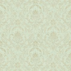 Colours Prestige Green Damask Mid sheen Wallpaper - B&Q for all your home and garden supplies and advice on all the latest DIY trends Linen Wallpaper, Wallpaper Stores, B And J Fabrics, Fabric Beads, Magnolia Homes, Garden Supplies, The Prestige, Damask, Diys