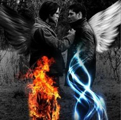 Supernatural Sam Dean Winchester I thought Lucifer said hell was cold? Just ask the winchesters if you wanna know so bad Sam Winchester, Winchester Supernatural, Winchester Brothers, Supernatural Series, Supernatural Wallpaper, Supernatural Fandom, Supernatural Quotes, Supernatural Bunker, Supernatural Angels