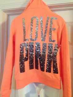 Victorias Secret Pink BLING Love Pink Funnel Neck Zip Up Hoodie Sweatshirt M O