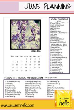 Get Ready to Celebrate JUNE 2016 with this free downloadable Planner with holidays listed for each day of the month! #activityideas #bloggingideas #holidays