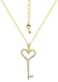 Gargantilha folheada a ouro e pingente Chave do Amor c/ pedras de strass (Pandora Inspired) http://www.imagemfolheados.com.br/?a=3434