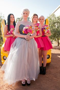 Same-Sex Wedding. Bride and Bridesmaids. LGBTI. Tulle.  Pink.  Yellow Balloons! Transformers Cars, Bright Colours and Lots & Lots of Love: Jo & Sian · Rock n Roll Bride. Simon & Louise Photography. http://simonandlouisephotography.com.au/?p=2606