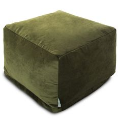 Shop Majestic Home Goods Indoor Villa Velvet Ottoman Pouf 27 in L x 27 in W x 17 in H - On Sale - Overstock - 11038194 - Fern Pouf Ottoman, Green Ottoman, Bean Bag Ottoman, Large Ottoman, Bean Bag Chair, Ikea, Square Pouf, Take A Seat, Slipcovers