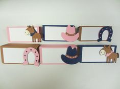 Cowgirl Western Food Tents Buffet / Place Cards Birthday Party Set of 6 Horse Pony Hat Pink Brown Tan Navy Blue by PeachyPaperCrafts