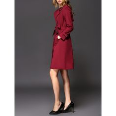 Red Long Sleeve A-line Lapel Polyester Trench Coat - StyleWe.com ($124) ❤ liked on Polyvore featuring outerwear, coats, red trenchcoat, trench coat, red coat, long sleeve coat and a-line coat