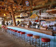 The bar at Conchy Joe's Restaurant, Jensen Beach Florida -  olde Florida at its best.