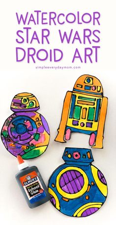 Watercolor Star Wars Craft For Kids | Your children will love this easy black glue art that features BB-8, BB-9E & R2-D2. They're super simple to create and come with a free printable template for each droid. It's the perfect idea to store away for summer!  #simpleeverydaymom #disney #kidscraft #starwars #kidsactivities