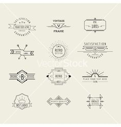 Set of line style badges and labels elements vector  by woodhouse84 on VectorStock®