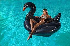 Luftmatratze Schwan schwarz XXL aufblasbar Badeinsel Schwimminsel 200cm  - Schwimmtier Luftmatratze Ananas Pool Party Schwimmgerät Sommerspielzeug für Erwachsene am Pool - Sommer Floatie