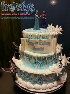 Frozen, Anna, Elsa, Olaf, character set 3 tier ice cream cake