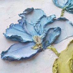 Original floral painting abstract floral art blue flowers sculpture painting volumetric art floral picture for home decor impasto Plaster Sculpture, Sculpture Painting, Wall Sculptures, Plaster Crafts, Plaster Art, Texture Painting, Painting Abstract, Deco Rose, Decorative Plaster