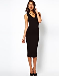 Must Have! ASOS Midi Bodycon Dress With Deep V Neck