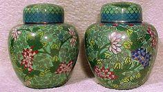 Pair of Antique Chinese Cloisonne Tea Caddy Jars c1900-20