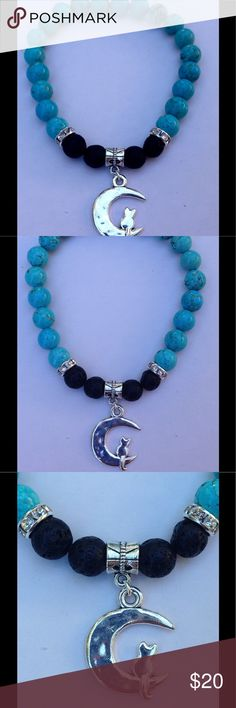 """Natural Turquoise Kitty Cat Oil Diffuser Bracelet This beautiful bracelet is made with natural turquoise and black lava rocks. It features a silver tone cat on a crescent moon charm. This piece is on elastic and will stretch to fit up to an 8"""" wrist.   To use your bracelet as an oil diffuser, add one drop of your choice of oil to each lava rock. The effect can last up to a couple days.   All PeaceFrog jewelry items are handmade by me! Let me know if you would like a different charm. Take a…"""