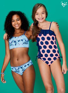 Dive into your holiday getaway in bikinis and one- pieces in exclusive Justice prints!
