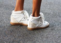 isabel marant wedge sneakers in white