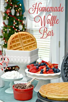 A great Christmas Breakfast Idea ... Set up a Homemade Waffle Bar with homemade waffle mix, lots of toppings, berries and more!