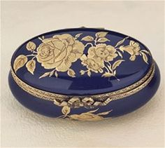 Limoges Cobalt Blue Oval with Gold Roses The Cottage Shop