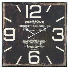 """Distressed metal wall clock with vintage-inspired label details.   Product: Wall clockConstruction Material: MetalColor: Dark rusticAccommodates: Batteries - not includedDimensions: 23"""" H x 23"""" W x 2"""" D"""