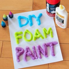 3 Ingredient DIY Foam Paint…sounds fun for a spelling or word work center.
