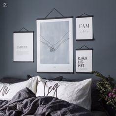 Soverom inspirasjon - 5 tips - Pictureit.no Soverom inspiras., Soverom inspirasjon - 5 tips - Pictureit.no Soverom inspirasjon - 5 tips - Pictureit.no. Bedroom Wall, Master Bedroom, Royal Bed, Black Bedroom Design, Blue Wall Decor, Above Bed, Loft, Soho House, Inspiration Wall