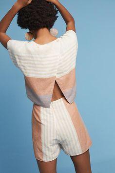 Elevenses Striped Linen Romper Elevenses Striped Linen Romper - Jumpsuits and Romper Casual Outfits, Summer Outfits, Cute Outfits, Casual Clothes, Summer Sundresses, Summer Romper, Modest Fashion, Fashion Outfits, Fashion Trends