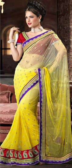 Shaded Yellow Net Saree With Blouse
