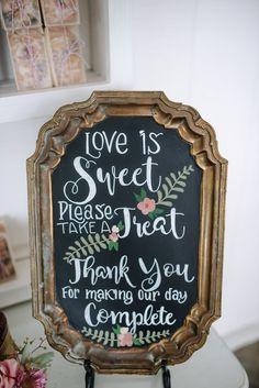 Favor display hand lettered signage #cedarwoodweddings 05.19.2017 :: Shelby+RJ   Cedarwood Weddings
