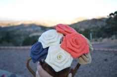 Coral Navy Natural or Ivory Burlap Flowers by EmaCreates on Etsy