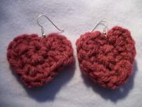 Heart crocheted earrings
