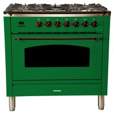 Hallman 36 in. Single Oven Italian Gas Range True Convection, 5 Burners, Griddle, LP Gas, Bronze Trim/Glossy - The Home Depot