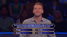 """Today, Eddie Wilk returns to play a second day as #MillionaireTV Eligible Bachelor Week comes to an end. Now, this animal appendage can either make or break him. Catch Friday's all-new """"Millionaire"""" with host Chris Harrison and see what Eddie does. Go to www.millionairetv.com for time and channel to watch."""