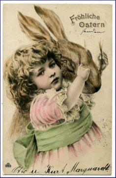 Osterkarte, Mädchen u. Osterhase, gel. 1905
