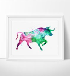 Animal Bull Painting ,Bull Watercolor Print, Watercolor Art, Art Print, Watercolor Painting, Watercolor Decor, Animal Art Poster (164)