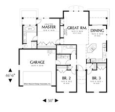 Main Floor Plan of Mascord Plan 1148 - The Glenview - Spacious Starter Home Plan with Great Lighting