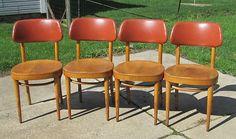 4 Vintage Thonet Wood Cafe Chairs Wood Seats Padded Backrest Mid Century Modern | eBay 100