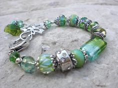 Spring Green and Silver Bracelet by cambriawolfe on Etsy, $32.00