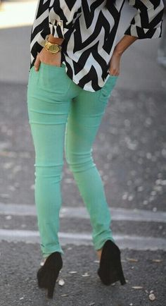 Love the Turquoise jeans paired with black and white!