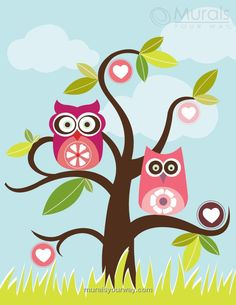 Love Birds in Tree - Image View | Murals Your Way