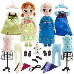 Disney-Store-Frozen-Anna-and-Elsa-Animators-Gift-Set-Accessories-Olaf-16-Dolls