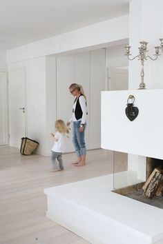 clean white spaces | fireplace